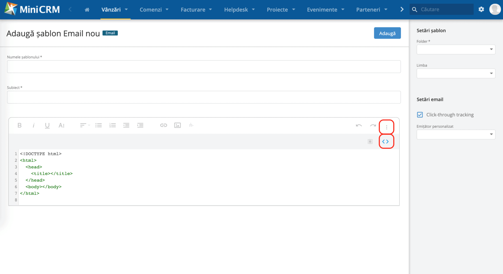 Șablon trimitere email-uri - MiniCRM